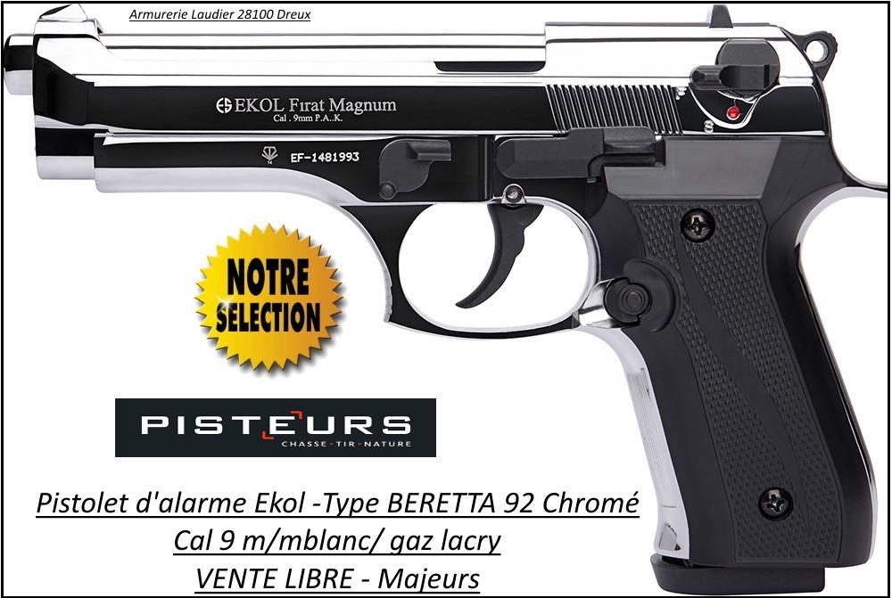 """Pistolet-alarme-Ekol- Semi auto -Firat-magnum-à blanc /gaz-Type Beretta 92- Chromé -Cal. 9 m/m-""""Promotion""""-Ref 26880"""