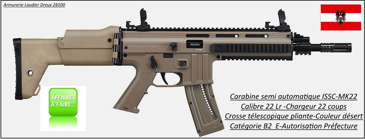 Carabine-ISSC-Austria-Modèle MK 22-commando-Désert-Semi-automatique-Autriche-Calibre 22 LR-20 coups-Catégorie B2-A-Ref 27077