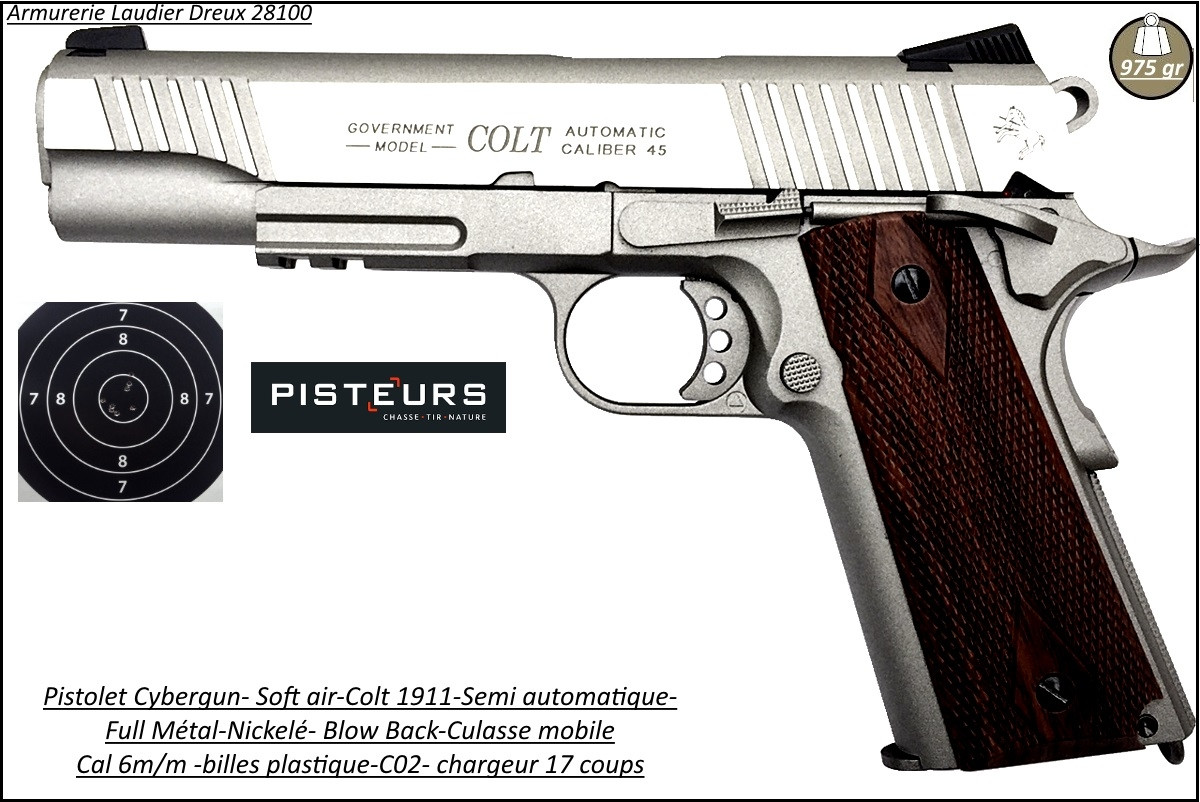 Pistolet-colt-1911-Soft air-Cal 6mm-C02-Blow-Back-culasse mobile-gun-stainless-Full-métal-1.1 joule-17 coups-Ref 28218