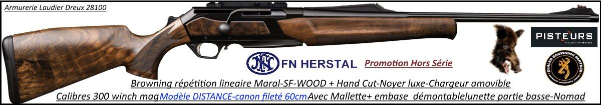 Browning Maral SF WOOD HC Modèle DISTANCE fluted Calibre 300 winch mag Linéaire-répétition Plaquettes-Noyer-crosse-grade-4 Canon 60cm-Promotion-Ref .35152129