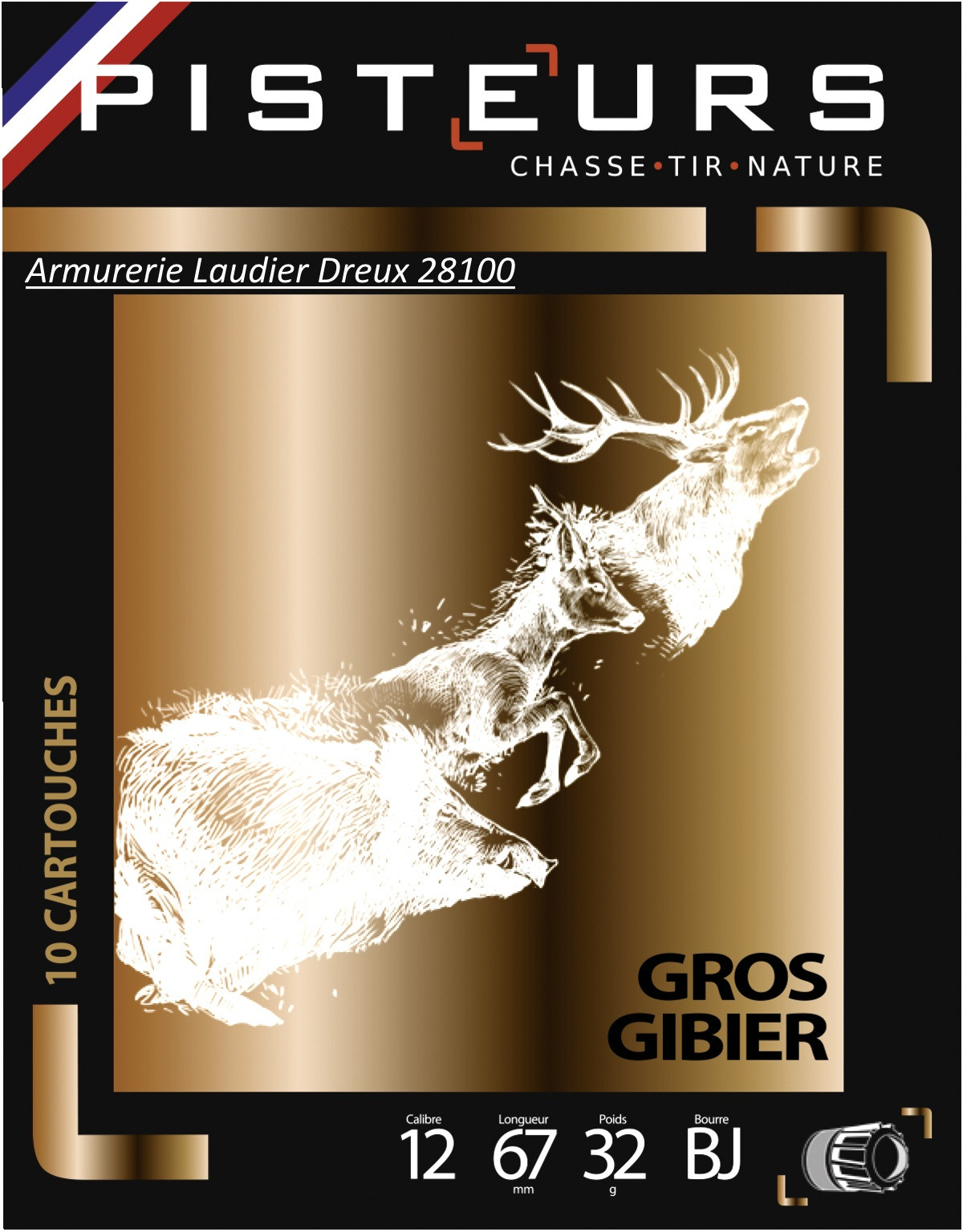 Cartouches-Pisteur-balles-Brenneke-Gros-gibier-Cal-12/67 (32g)-Ref 16221-31518