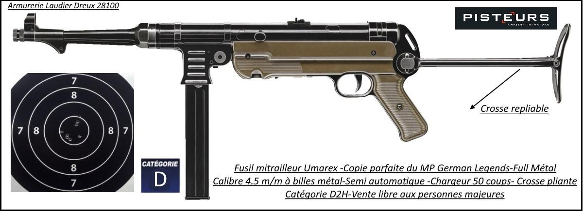 Carabine UMAREX MP GERMAN LEGENDS Calibre 4.5mm billes acier C02 semi automatique chargeur 50 coups-Promotion-Ref 31544