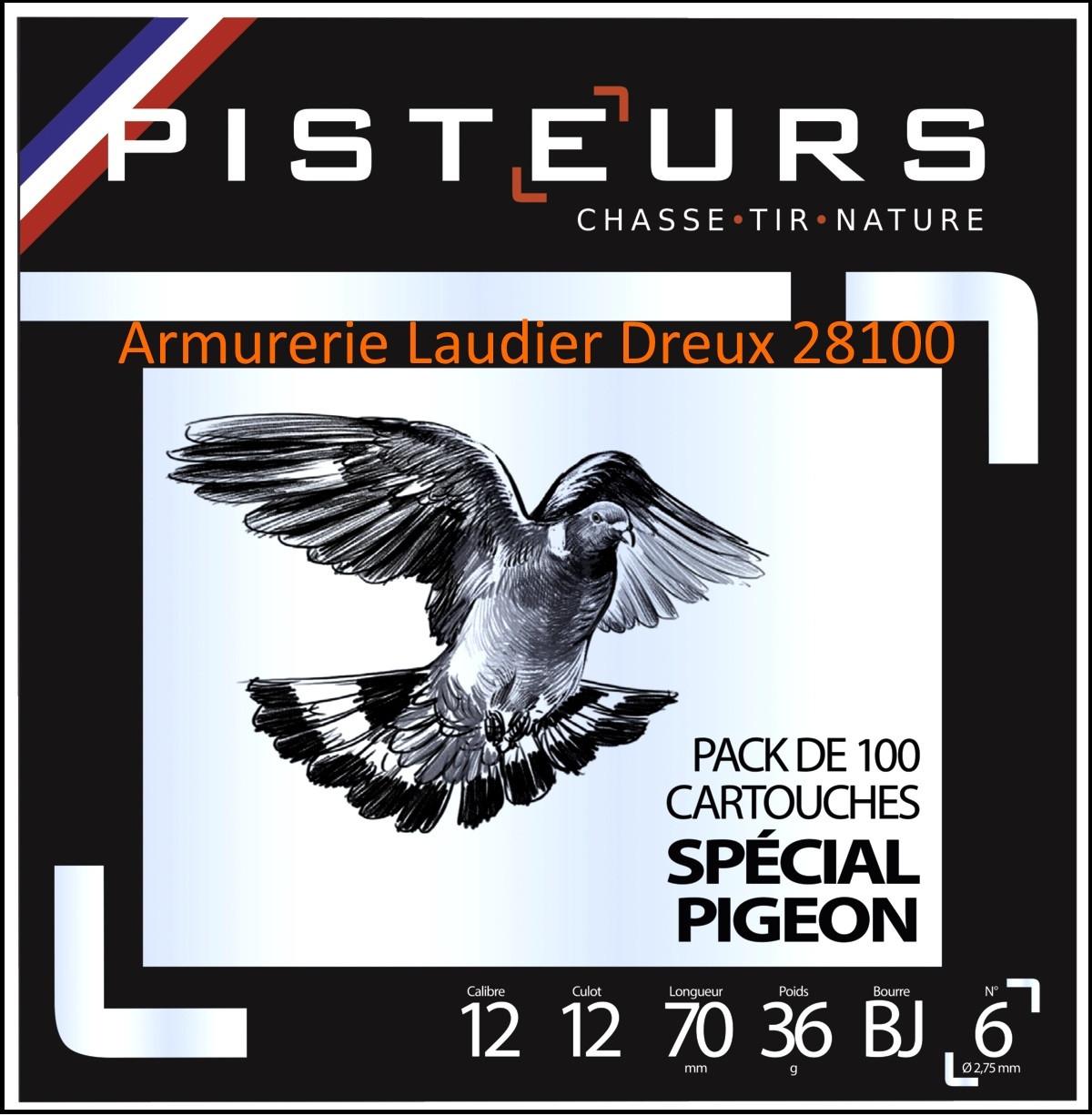 Cartouches-PISTEURS-Spécial-pigeons-Cal 12/70-Plomb N°6 en 36 gr-Pack de 100 cartouches-Ref 33502