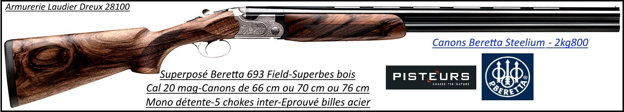 Superposé Beretta 693 Field Calibre 20 mag-Canons 76 cm-Promotion-Ref 35509