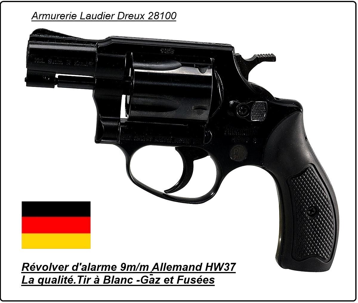 Révolver-alarme et Starter-Weihrauch-HW 37S -Acier - blanc ou gaz lacrymogène-Cal. 9 mm-Allemand-Trés robuste-Promotion-Ref 3401.