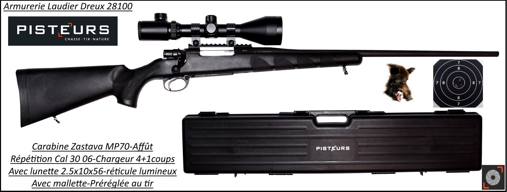 Carabine-Zastava-MP 70-Calibre-30-06-Répétition-Crosse synthétique-Avec lunette -mallette-Promotion-Ref 34915