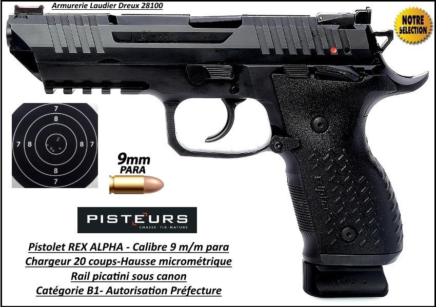 Pistolet REX ALPHA-Calibre-9mm-para-20 coups-Catégorie B1-Autorisation-Préfecture-Promotion-Ref 35187