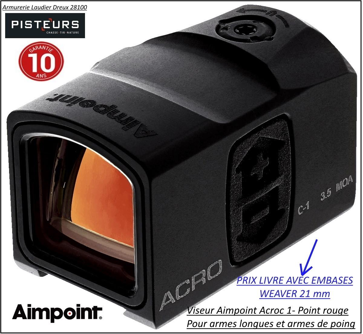 Viseur Aimpoint ACRO C1 Point rouge mini-AVEC EMBASE DEMONTABLE 21 MM -Promotion-Ref 35754