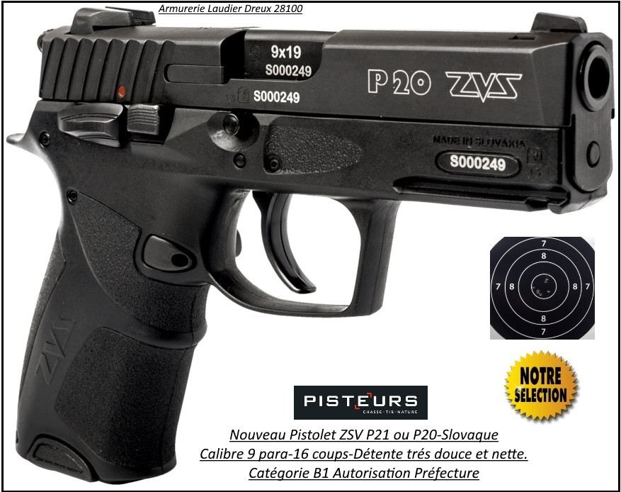 Pistolet ZVS P21 Calibre 9mm para noir 16 coups-Catégorie B1-Autorisation-Préfecture-Promotion-Ref 37525