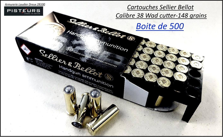 Cartouches sellier bellot 38 wadcutter par 500-poids 148 grs-Promotion-Ref 3600bis