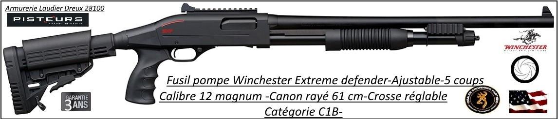 Fusil pompe Winchester Extreme defender ajustable Calibre 12 Magnum Canon rayé 61cm-5 coups-Promotion-Ref 38008
