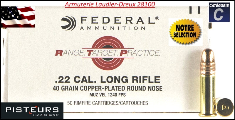 Cartouches FEDERAL calibre 22 Lr CUIVREES-Promotion-Ref 38136