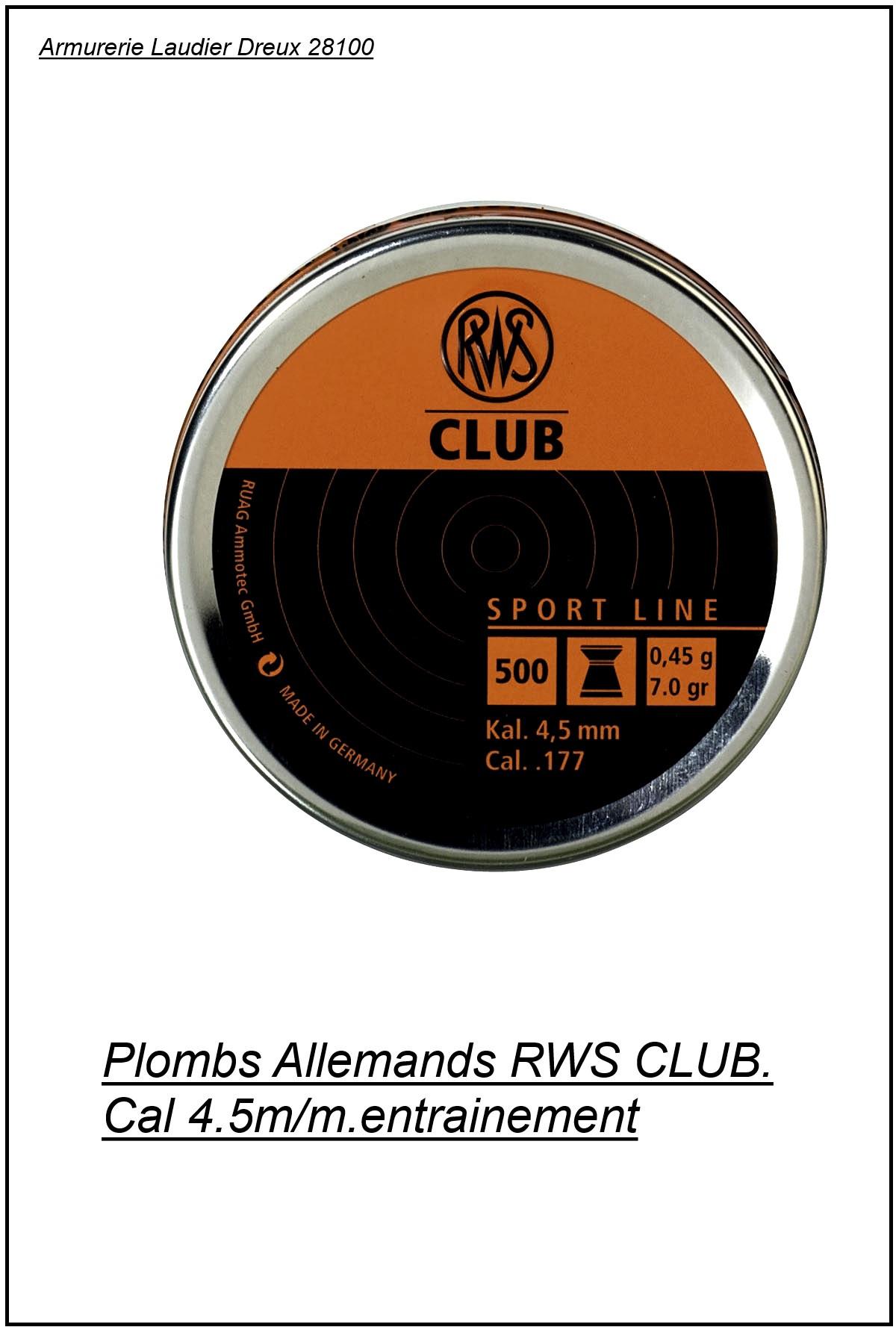 Plombs-RWS-Cal 4.5mm-Club-carabines et pistolets-précision-Air comprimé- par 500-Tête plate-Ref 3933