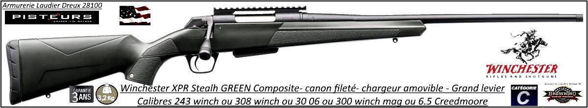 Carabine Winchester XPR Stealth Threaded GREEN compo Répétition Calibre 243 winch ou 30 06 ou 308 winch Canon 53 cm- Filetée M14x100-Promotion