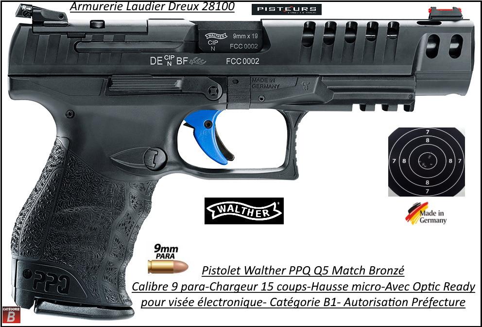 Pistolet Walther  PPQ Q5 Match Bronzé Calibre 9 Para + OPTIC READY Semi automatique-Catégorie B1-Promotion-Autorisation-Préfectorale-B1-Ref 41410