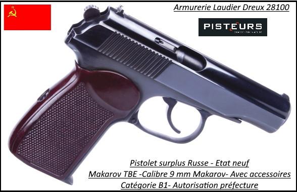 Pistolet Makarov TBE Russe Calibre 9mm Makarov-Semi automatique-Catégorie B1-Promotion-Avec-Autorisation-Préfectorale-B1-Ref 41841