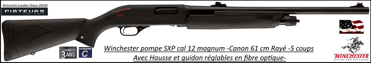 Fusil pompe Winchester SXP Black Shadow Deer Calibre 12 Magnum Canon rayé 61cm-5 coups HAUSSE REGLABLE-Ref 512393389