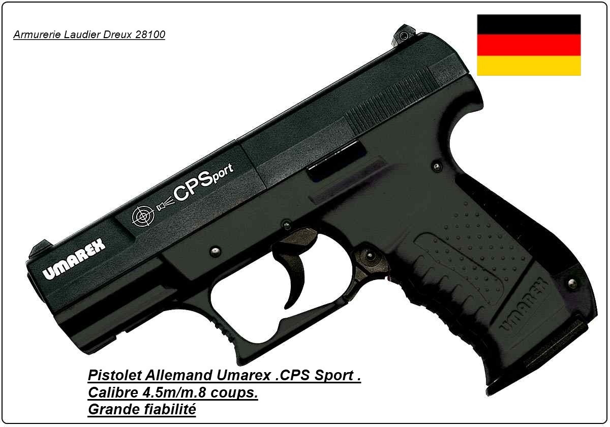 """Pistolet-Umarex-Walther- Cps-Sport-Allemand CO2 -Cal 4.5mm -8coups-""""Promotion""""-Ref 7052"""