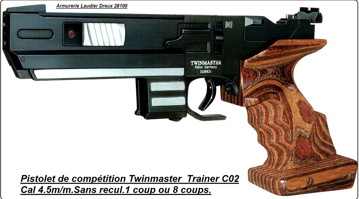 """Pistolet  Röhm air comprimé--Twinmaster Trainer-- Co2 Tir de Vitesse.Cal 4.5mm,ENTRAINEMENT COMPETITION. """"'Promotion"""".Ref 7570"""