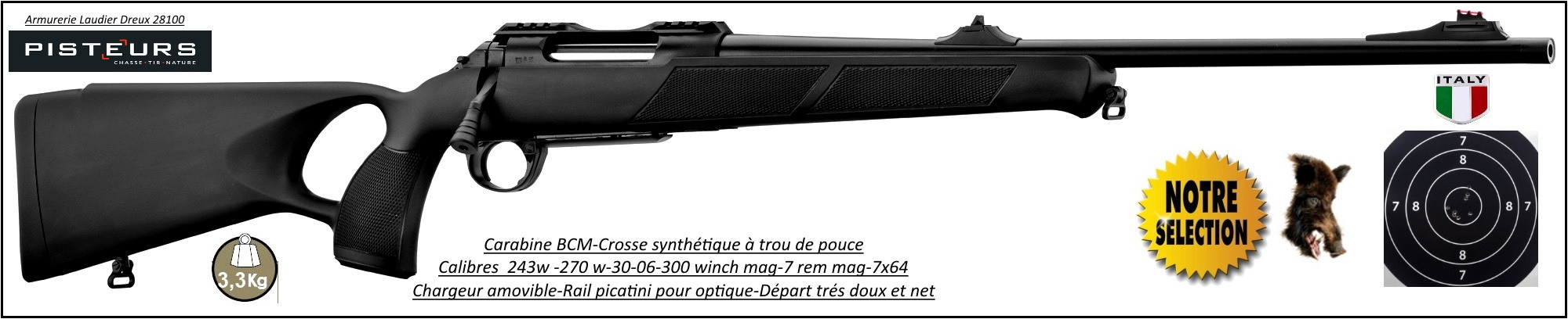 Carabines BCM Rubis Calibres-243win-270 win-7x64-30-06- 7 Rem  mag-300 winch mag Répétition crosse trou pouce synthetique canon filete-Promotion