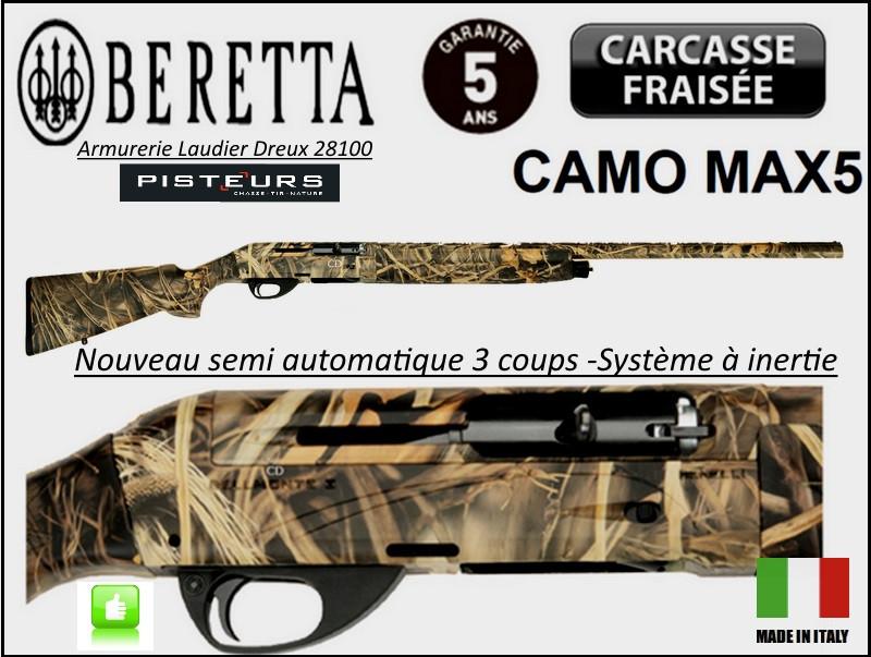 Fusil semi automatique Beretta Bellmonte I Calibre 12 magnum CAMO  MAX5  système inertie 3 coups Crosse synthétique Camouflée -3 Mobilchokes-Canon 76 cm--Promotion-Ref 23307 ter-27829