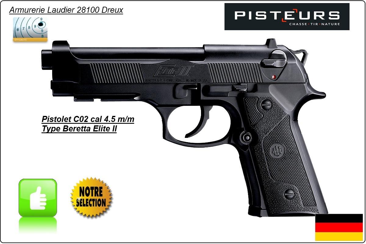 "Pistolet-BERETTA-ELITE II-Umarex- CO2-Cal 4.5mm- Allemand-Billes d'acier-18 coups-""Promotion""-Ref 12874"