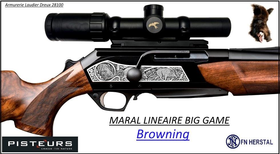 Browning Maral Big Game SF HC Canon fluté Linéaire répétition Calibre 30-06 canon fileté Plaquettes gravées Noyer grade 4-Promotion-Ref 38150-