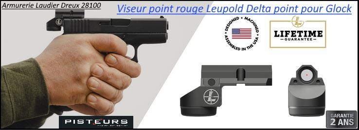 Viseur Leupold delta point micro PISTOLET GLOCK Point rouge 3 MOA avec montage-Ref 784382