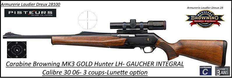 Browning MK3 Hunter GOLD LH GAUCHER INTEGRAL Calibre 30- 06 Semi automatique noyer grade3-Promotion-Ref 031955126