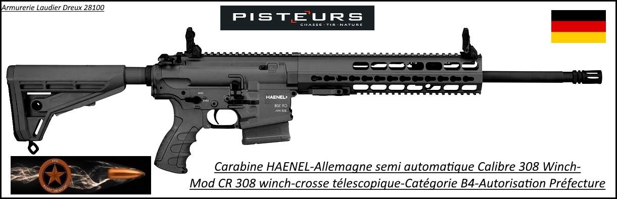 Carabine Haenel Calibre 308 winch CR 308 semi-automatique crosse télescopique-Canon-20 pouces-Avec-Autorisation-Préfectorale-B4-Ref  haenel-cr308