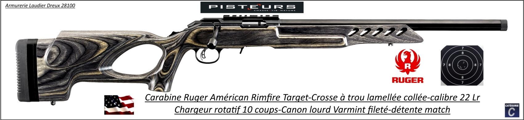Carabine Ruger American rimfire Target calibre 22 Lr crosse laméllée collée  trou de pouce répétition-chargeur 10 coups-Promotion-Ref 32502139