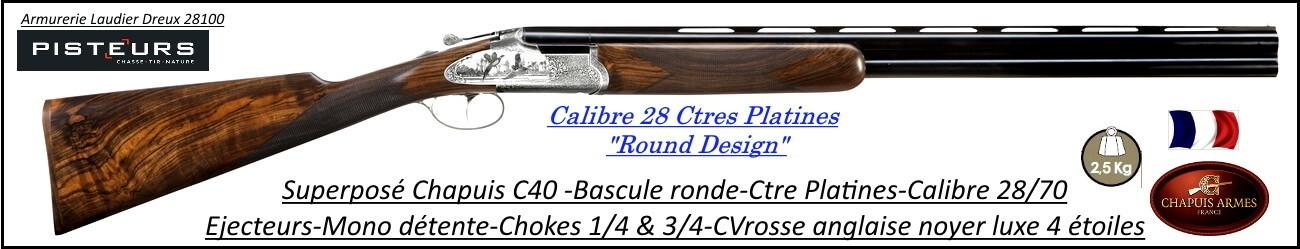 Superposé Chapuis super Orion C40 round design calibre 28/70 cte platines-Ref C40-cal 28