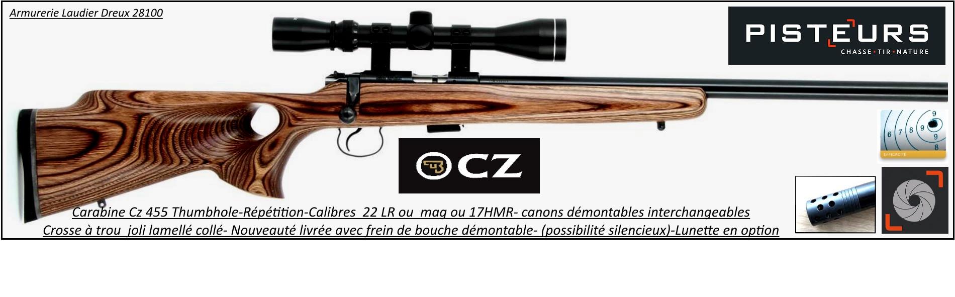 Carabine CZ  Mod 455 THUMBOLE Varmint Calibre 17 HMR frein de bouche Répétition-Promotion-ref  R771873