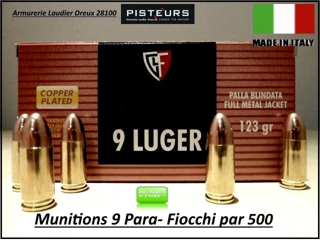 Cartouches- 9 para-Fiocchi-FMJ-Blindées-Par 500-poids 123 grs-Promotion-Ref 28114-4