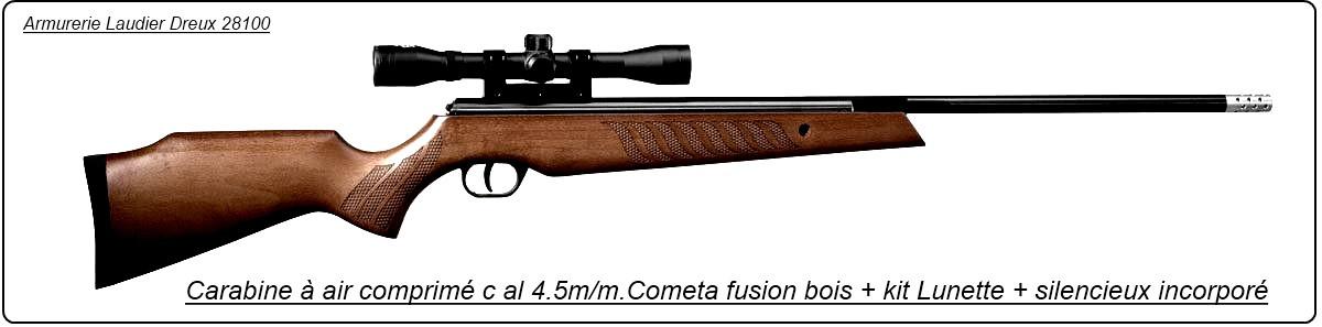 """Carabine-air-comprimé-COMETA-FUSION-Cal 4.5mm avec lunette- 330 m/sec - 27,3 joules-silencieux incorporé au canon-Crosse bois-""""Promotion""""-Ref 14180"""