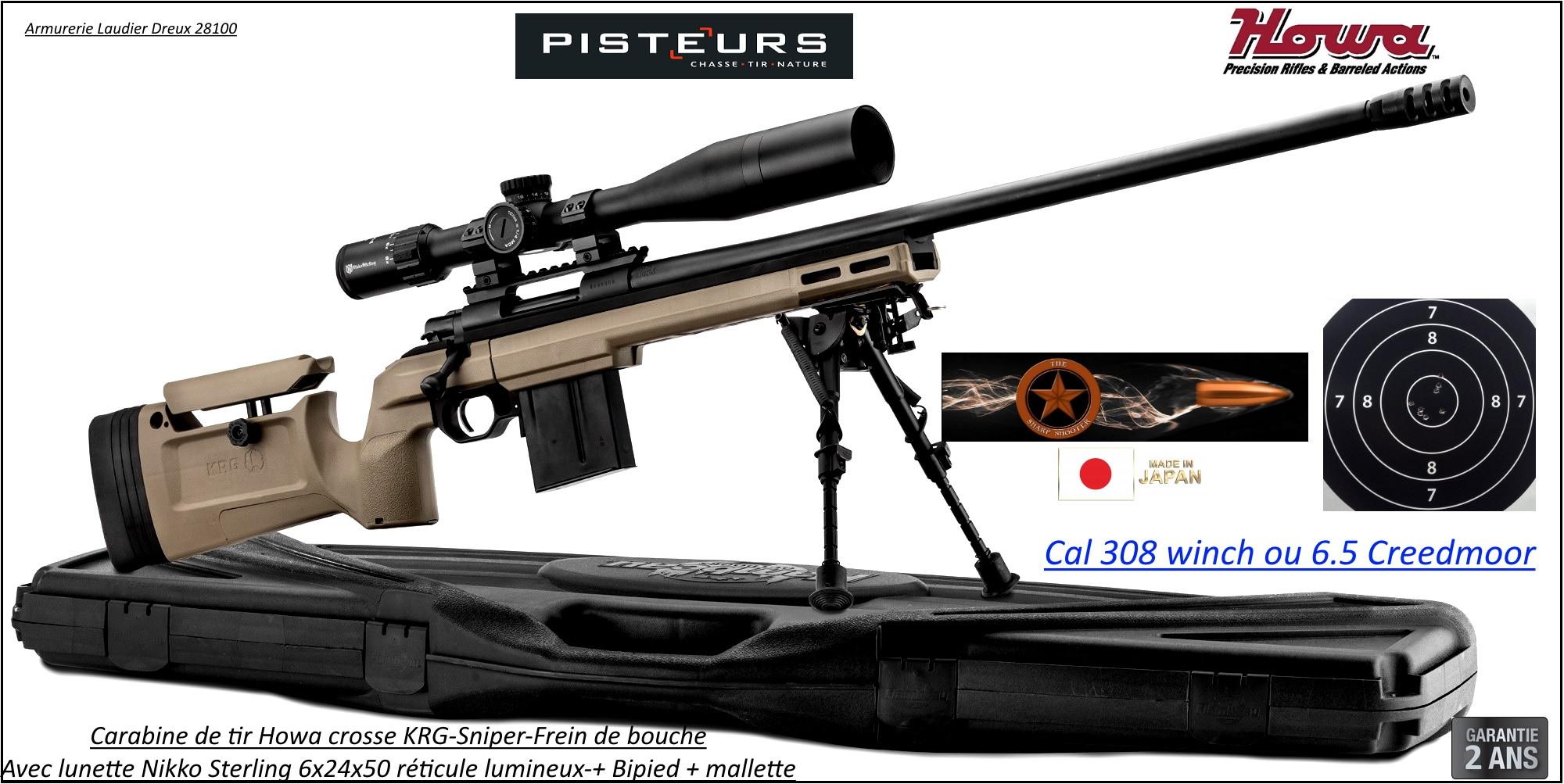 Carabines Howa KRG SNIPER Calibre 308 winch ou 6.5 Creedmoor Répétition Crosse réglable  rails picatini +lunette Nikko Sterling 6-24x50+Frein bouche+bipied-Promotions-