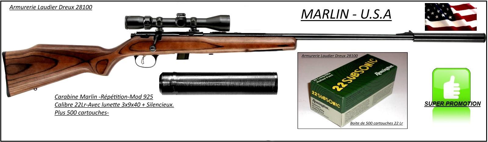 """Carabine-Marlin -Mod 925- Cal 22 lr -Répétition+ Lunette 3x9x40 +Silencieux+500 cartouches-'Promotion""""-Ref 24389"""