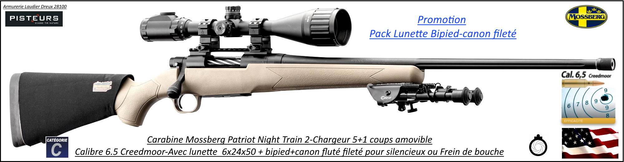 Carabine Mossberg night patriot train 2 Calibre 6.5 Creedmoor Pack-lunette-bipied-filetée-Répétition-TIRS-LONGUES-DISTANCES-Promotion-Ref MO8001