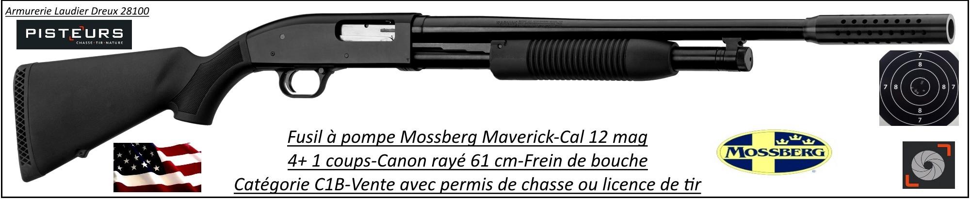 """Fusil-pompe-Mossberg-Cal.12 Magnum-Crosse synthétique-Canon rayé-61 cm-""""Promotion""""-Ref 28806-28805- MV 701"""
