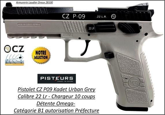 Pistolet CZ kadet P09 Calibre 22Lr-Semi automatique-Autorisation-Préfectorale-Catégorie B1-Promotion-Ref-780758-kadet-P09