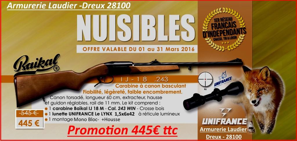 """Carabine Baikal  un coup- """"Kipplauf""""-Cal  243 winch+ Kit lunette LYNX 1.5x6x42  + Montage -Mono Bloc -""""Promotion"""".Ref 15988"""