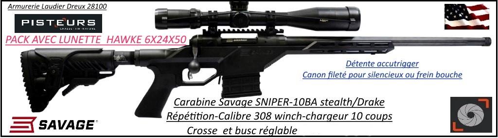 Carabine Savage 10BA Stealth Drake SNIPER Calibre 308 winch filetée+ lunette 6x24x50+montages  Répétition-Crosse réglable-rails picatini -Promotion-Ref 777616bis