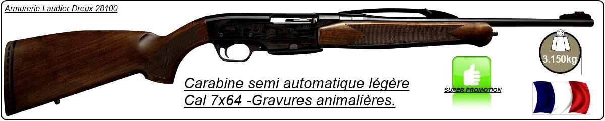 Carabine semi-automatique Verney-Carron- Impact Nt Battue-  Cal 7x64- Finition noire Gravée Légère -Ref 5515