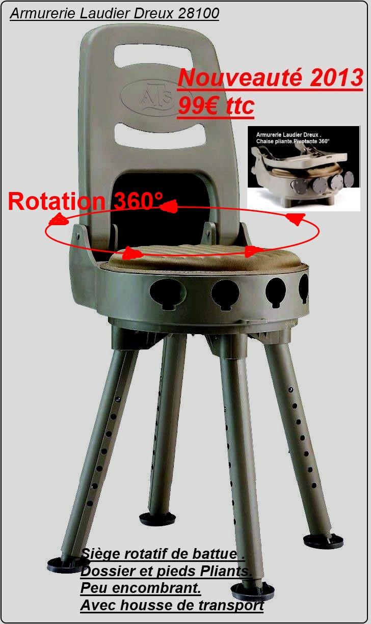 Siège battue rotatif 360° pliant-avec housse-pieds réglables-Ref DK siege