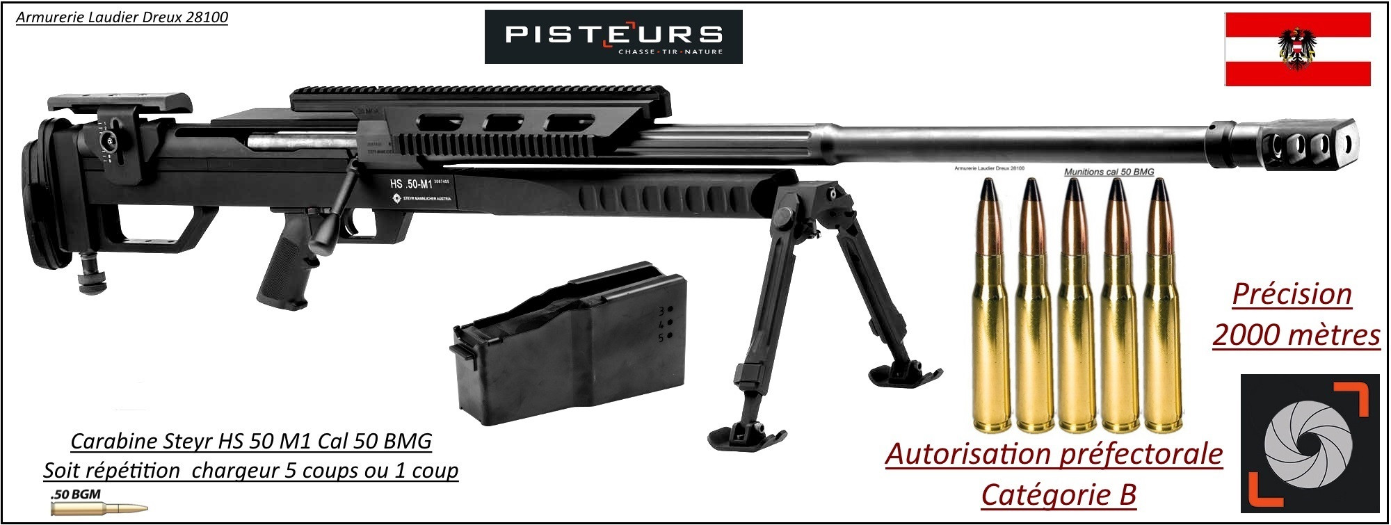 "Carabines Steyr Mannlicher HS 50 Calibre 50 BMG- 1 coup ou 5 coups-""Prix Promotion"""