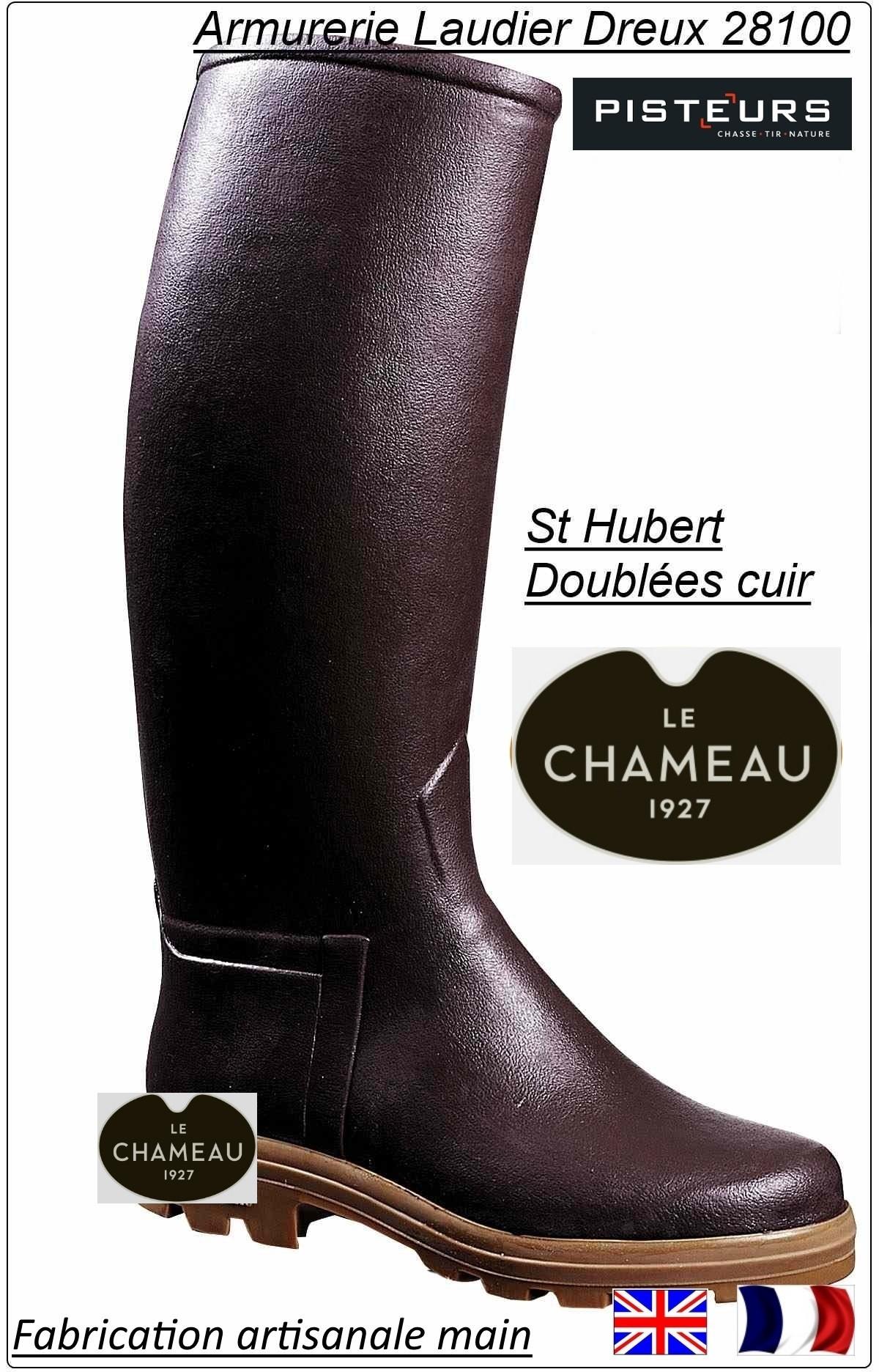 Bottes le Chameau Saint Hubert doublées cuir  marron ou noires Promotion Anniversaire 235 € ttc au lieu de 285 € ttc