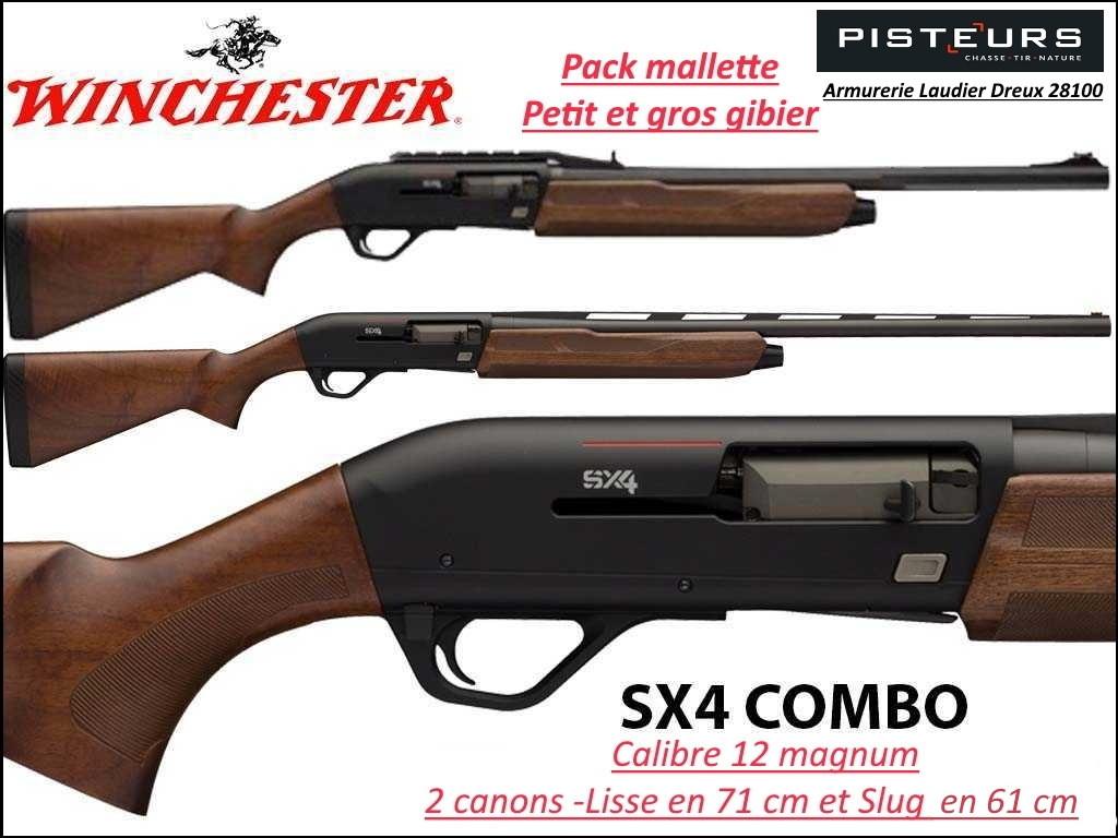 """Semi automatique Winchester SX4 Field COMBO Calibre 12 mag-Canon """"SLUG"""" spécial balles-Avec 2 canons 61 cm et 71 cm-Promotion-Ref FN-511225390-12160"""