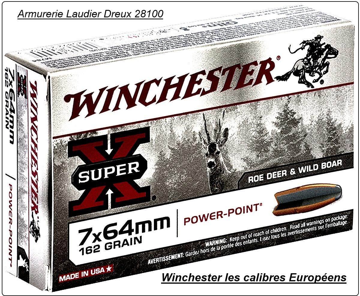 Cartouches grande chasse Winchester.EUROPE. Cal 9,3x74R   (boite de 20) .Type Power point.18,5 gr.(286 grains).Ref 16181