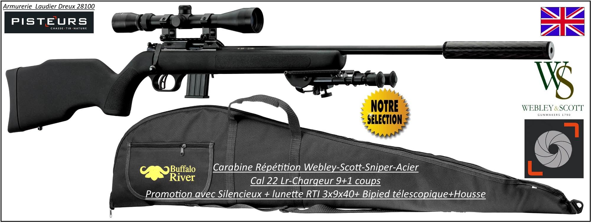 """Carabine-webley-Scott-Cal 22 Lr-Acier-SNIPER-répétition +Silencieux+Lunette-RTI 3x9x40+bipied + housse-'Promotion""""-Ref WSP04"""