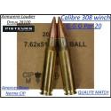 Cartouches calibre 308 winch GGG CIP (7.62x51) poids147 grains FMJ blindées par 20 cartouches-Promotion-Ref ggg 308w-20